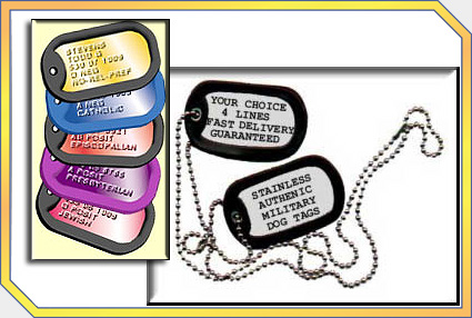 505a0f654c45 Big Catalog Listing, Customizable Take Homes, Dog Tag and Military ID's -  Nationwide Full Service Event Planning, 866-728-9129